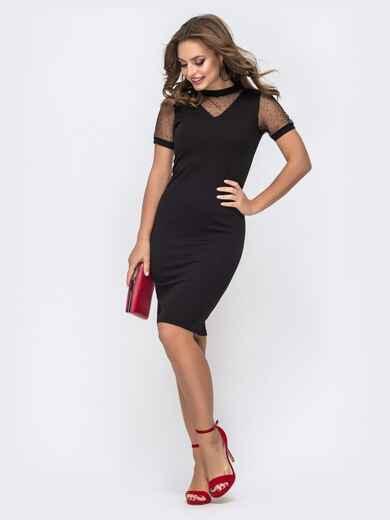 Обтягивающее платье чёрного цвета с фатиновыми вставками 42813, фото 1