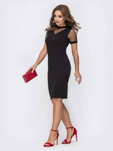 Обтягивающее платье чёрного цвета с фатиновыми вставками 42813, фото 2