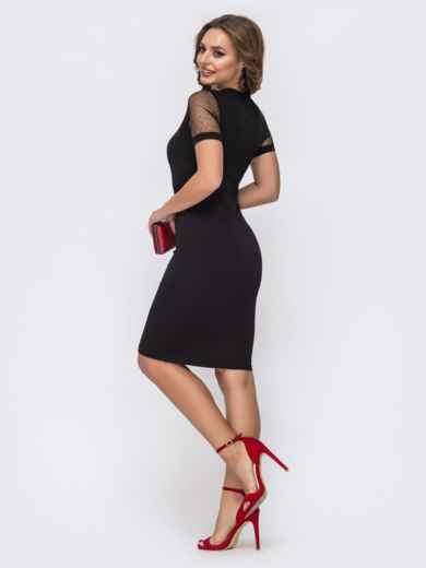 Обтягивающее платье чёрного цвета с фатиновыми вставками 42813, фото 3