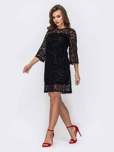 Платье из гипюра и трикотажной комбинацией чёрное 42823, фото 1