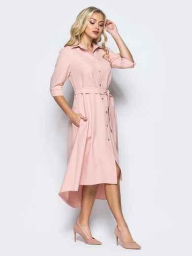 Платье-рубашка розового цвета со шлейфом 16446, фото 2