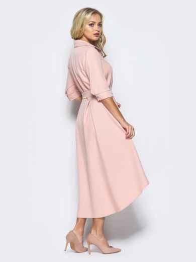 Платье-рубашка розового цвета со шлейфом 16446, фото 3