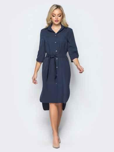 Платье-рубашка тёмно-синего цвета с удлиненной спинкой 16440, фото 2