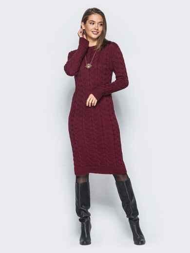 """Вязаное платье с объемным узором """"коса"""" бордовое 15909, фото 1"""