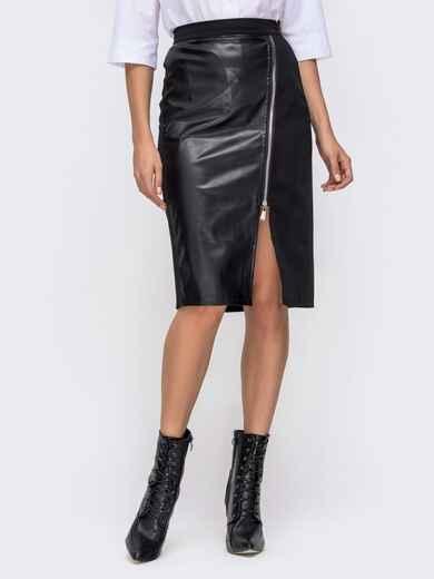 Чёрная юбка со вставками из эко-кожи 41350, фото 1