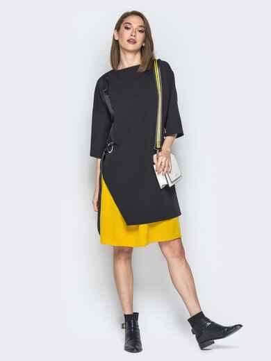 Чёрное платье oversize с жёлтой юбкой 20012, фото 1
