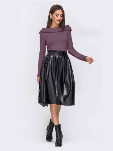 """Платье с вырезом """"лодочка"""" и юбкой из эко-кожи фиолетовое 52296, фото 2"""