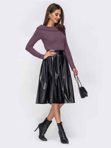 """Платье с вырезом """"лодочка"""" и юбкой из эко-кожи фиолетовое 52296, фото 3"""