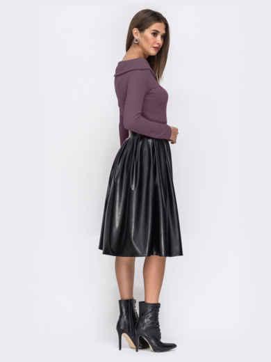 """Платье с вырезом """"лодочка"""" и юбкой из эко-кожи фиолетовое 52296, фото 4"""