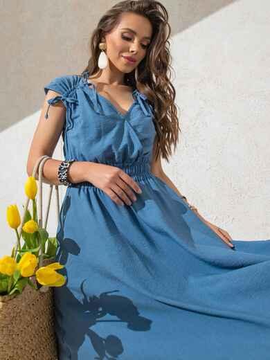 Платье синего цвета с расклешенной юбкой 49310, фото 1