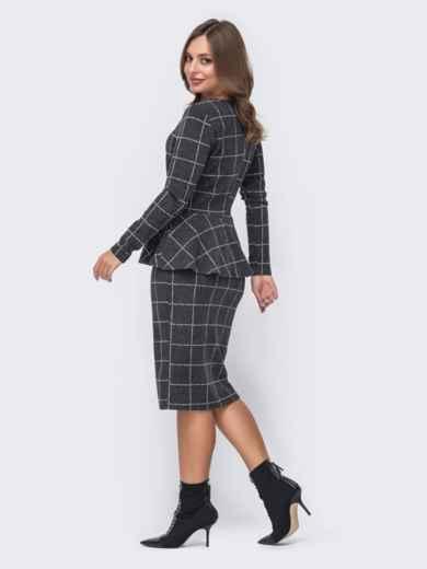 Серый костюм в клетку из кофты с баской и юбки 51627, фото 2