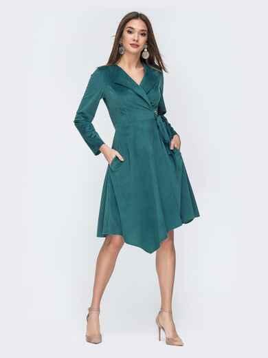 Тёмно-зелёное платье на запах из вельвета 44215, фото 1