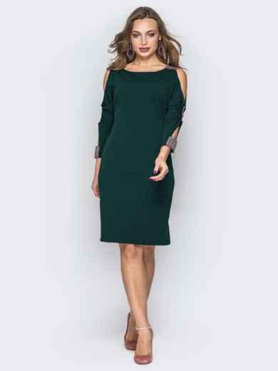 Зеленое платье со стразами и вырезами на рукавах 44032, фото 2