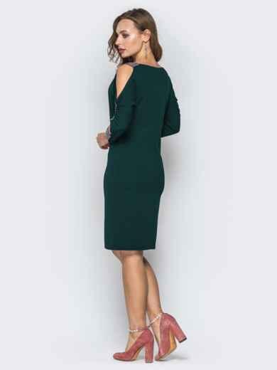 Зеленое платье со стразами и вырезами на рукавах 44032, фото 3