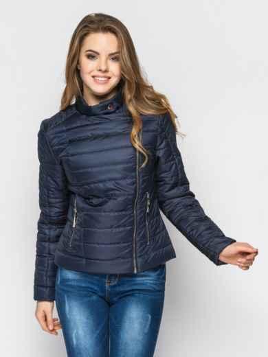 Черная куртка со смещенной молнией на полочке 12948, фото 2