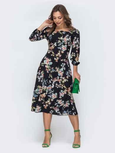 Чёрное платье из софта с принтом и отрезным лифом 45845, фото 2