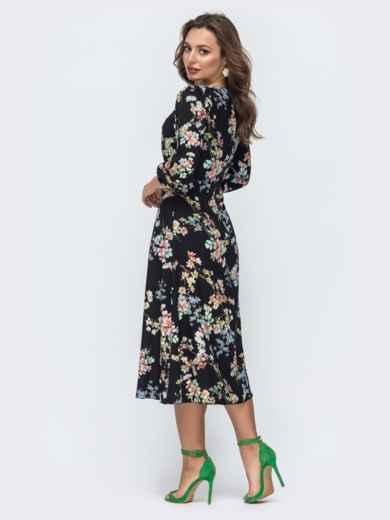 Чёрное платье из софта с принтом и отрезным лифом 45845, фото 3