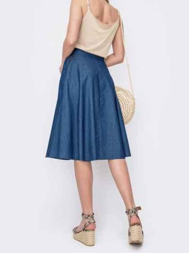 Джинсовая юбка-трапеция на пуговицах синяя 46983, фото 2