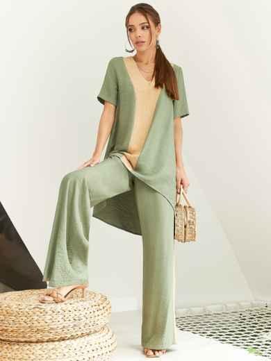 Костюм цвета хаки из туники со шлейфом и брюк-палаццо 54025, фото 1