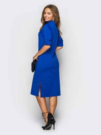 Платье полуприталенного кроя с функциональными шлевками синее 13435, фото 2