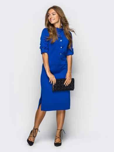 Платье полуприталенного кроя с функциональными шлевками синее 13435, фото 3