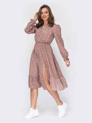Пудровое платье в горошек с юбкой-клеш 53293, фото 1