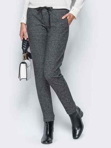 Тёмно-серые брюки из жаккарда с кантом на карманах 17755, фото 1
