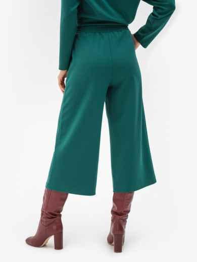 Зеленые брюки-кюлоты из джерси с завышенной талией 51251, фото 2