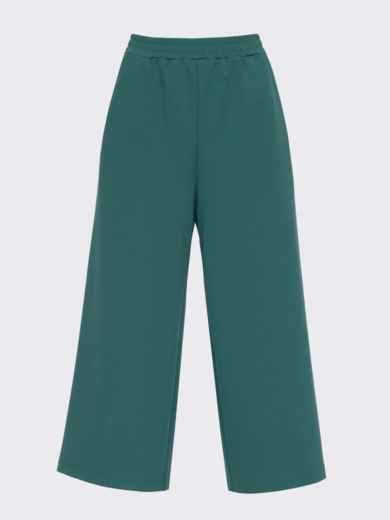 Зеленые брюки-кюлоты из джерси с завышенной талией 51251, фото 3