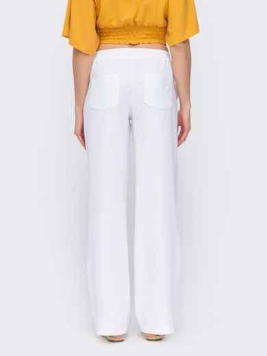 Льняные брюки-клёш с резинкой по талии белые 46889, фото 2