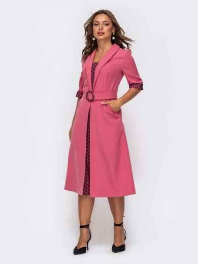 Розовоеплатьесовставкамивгорохирасклешеннойюбкой 50163, фото 2
