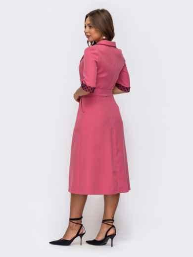 Розовоеплатьесовставкамивгорохирасклешеннойюбкой 50163, фото 3