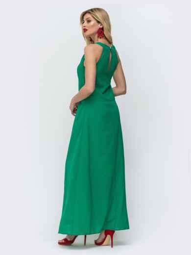 Зеленое платье-макси с американской проймой и разрезами по бокам 46717, фото 2