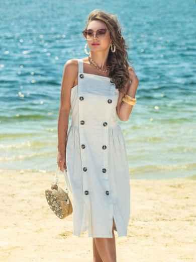 Бежевое платье из льна с резинкой по спинке 38925, фото 1
