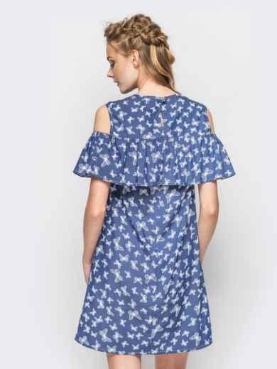 Летнее платье с открытыми плечами в принт 12602, фото 2