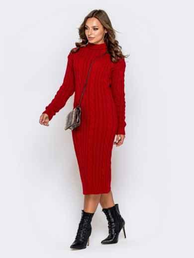 Обтягивающее платье с косами и воротником-стойкой красное 41199, фото 2
