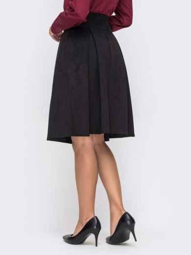 Расклешенная юбка из искусственной замши на пуговицах чёрная 41500, фото 3