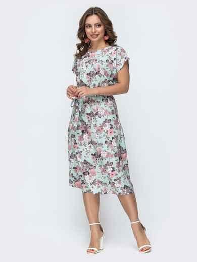 Зеленое платье-миди с цветочным принтом 46925, фото 1