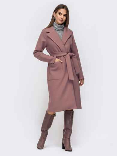 Демисезонное пальто на запах с накладными карманами лиловое 41440, фото 1