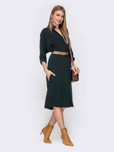 """Платье с рукавом """"летучая мышь"""" и V-вырезом зеленое 40449, фото 3"""