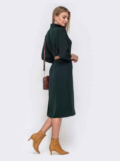 """Платье с рукавом """"летучая мышь"""" и V-вырезом зеленое 40449, фото 4"""
