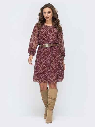 Шифоновое платье с цветочным принтом бордовое 45051, фото 1