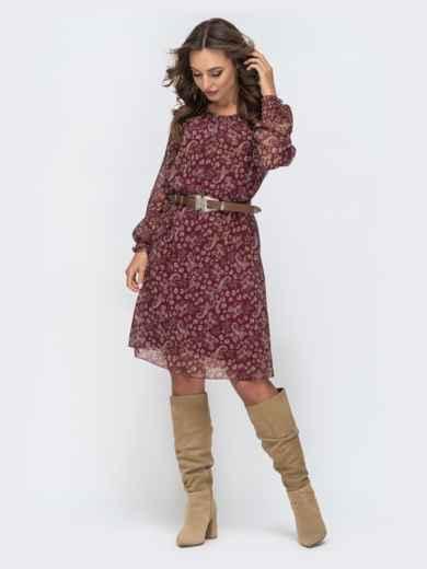 Шифоновое платье с цветочным принтом бордовое 45051, фото 2