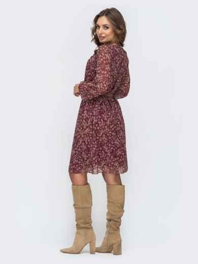 Шифоновое платье с цветочным принтом бордовое 45051, фото 3
