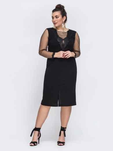 Чёрное платье батал со вставками из сетки 43779, фото 2