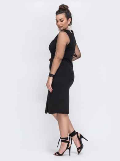 Чёрное платье батал со вставками из сетки 43779, фото 3
