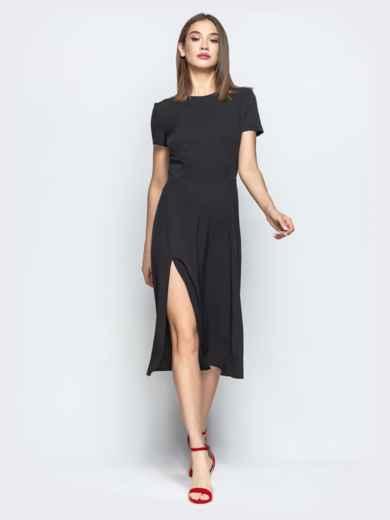 Чёрное платье с фирурным вырезом по спинке 21670, фото 1