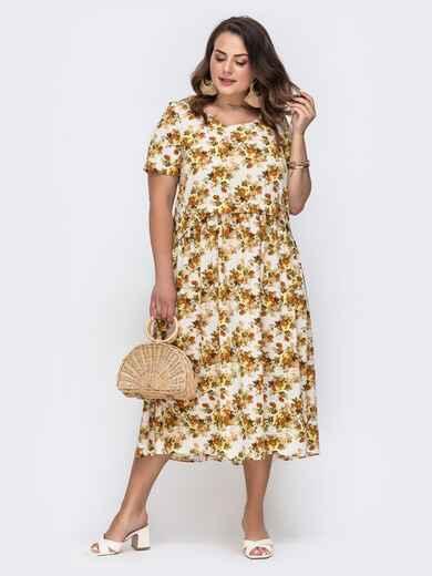 Свободное платье батал с цветочным принтом желтое 49661, фото 1