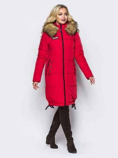 Удлиненная куртка с люверсами на карманах и рукавах красная 16708, фото 1