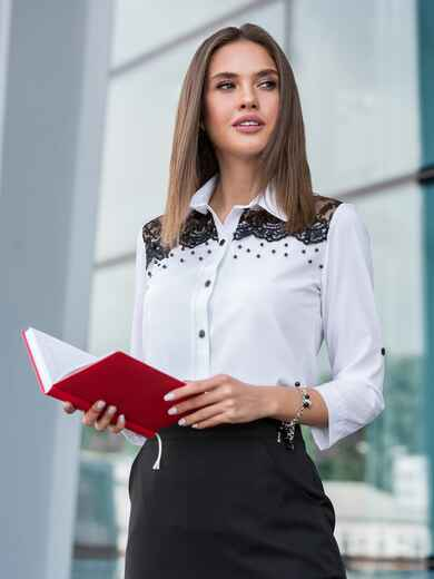 Белая блузка с кружевной кокеткой 39958, фото 1